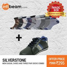 Combo of Silverstone Men Casual Shoes & Pair of 3 Socks at Lowest Rate from Infibeam's MagicBox !   Assuring Lowest Price in Magic Box Deals!   HURRY ! OFFER ENDS TODAY MIDNIGHT !  #MagicBox #Deals #DealOfTheDay #Offer #Discount #LowestRates #Silverstone #Cashual #Shoes #Footwear #Socks #FashionAccessories #MensFootwear