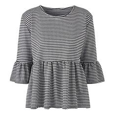 Simply Be Gingham Peplum Blouse   SimplyBe US Site ($40) ❤ liked on Polyvore featuring tops, blouses, gingham blouse, peplum blouse, gingham top and peplum tops