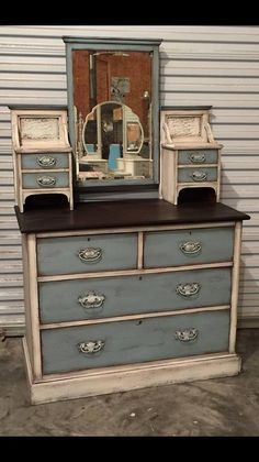 Lisa with Paintiques finished this with Dixie Belle Paint in dropcloth, vintage duck egg and espresso gel stain.