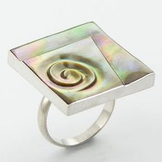 Carved Rainbow Shell Sterling Sliver Ring on OpenSky Very limited quantities. Affordable prices for quality unique hand made jewelry.