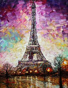 Title: Eiffel Tower Size: 20 x 16 x 3/4 Medium: Winsor & Newton and Gamblin Artists Oil colors on canvas. I will ship your painting STRETCHED.