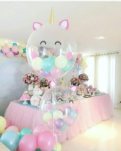 Beautiful soft pink and blue colors for party decorations. Unicorn balloons perfect for baby shower or girls birthday party. Job well done! Source by riannemcd Unicorn Themed Birthday, Baby Birthday, First Birthday Parties, Birthday Ideas, 1 Year Old Birthday Party, Balloon Birthday, 10th Birthday, Birthday Cake, Balloon Decorations Party