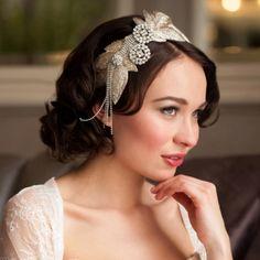 donna crain ena vintage hollywood glamour wedding headdress could be a fun diy