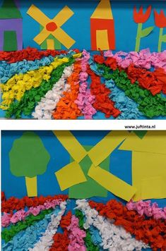 Flower Fields crafts for kids Spring In the spring you can see the beautiful flower fields in some regions After looking at a number of pictures of this love to recreate it yourself. First, there is drawn a horizontal line at about half of the le Diy For Kids, Crafts For Kids, Arts And Crafts, Paper Crafts, Spring Art, Spring Crafts, Thinking Day, Kindergarten Art, You Draw
