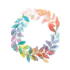 Leaf Wreath 4x6 8x10 Print - Archival Quality Watercolor Giclee - Pastel Rainbow Branch Art - Modern Rainbow Nature Print by EmergingEminence on Etsy https://www.etsy.com/listing/191801089/leaf-wreath-4x6-8x10-print-archival