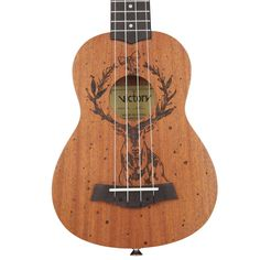 Amazon.com: MUSICTOPIA VI VICTORY Soprano Ukulele 21 Inches Mahogany Tattoo Christmas Style Design with Beginner Kit: Gig Bag Strap Picks and Tuner- Natural Color…: Musical Instruments