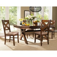 Powell Kraven 5 Piece Dining Set - Brown