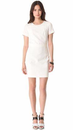 $295 Theory Ivory Inessa Seamed Mini Sheath Cocktail Party Dress