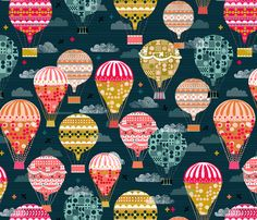 Hot Air Balloons - Vintage Retro-Inspired Flying Machines by Andrea Lauren fabric by andrea_lauren on Spoonflower - custom fabric