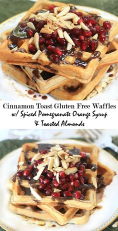 #AD Dig in! Cinnamon Toast Gluten Free Waffles with Spiced Pomegranate Orange Syrup | You'll love this festive breakfast or brunch recipe for the holidays!