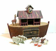 Folk Art Noah's Ark With Animals Millwood Toy Company