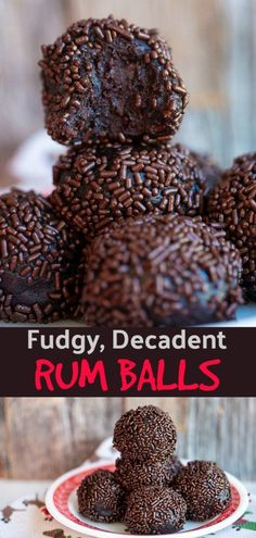 These rum balls are SO much better than the dried out ones that use nuts These are so decadent they are like chocolate rum truffles Nut free and chocolate cake based rumballs christmas chocolate Christmas Cooking, Christmas Desserts, Holiday Treats, Mini Desserts, Holiday Recipes, Christmas Truffles, Healthy Christmas Treats, Christmas Christmas, Christmas Recipes