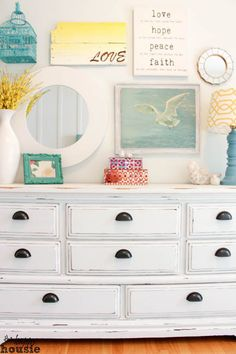 A third times the charm dresser makeover - from old dated 80s dresser to a black and wood affair finishing off as a beautiful white chalk based painted dresser.