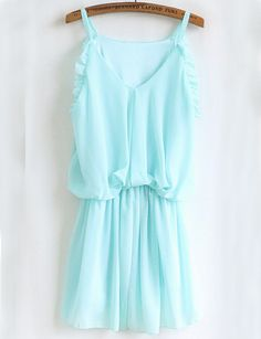 Blue Sleeveless V Neck Ruffle Dress - Fashion Clothing, Latest Street Fashion At Abaday.com