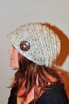 Slouchy Hat Brim Hat Brimmed Beanie Button Knit Crochet by lucymir, $59.99