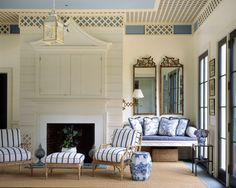 Pool house via The Pink Pagoda: Blue and White Monday with Blue Ridge Farm in Albemarle County My Living Room, Living Spaces, Interior And Exterior, Interior Design, Design Interiors, Lattice Design, Lounge, White Rooms, White Bedroom