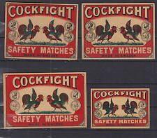 Ancienne étiquette de paquet allumettes Suède AZ4346 Combat Coqs