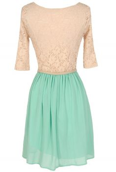 Dawn Til Dusk Belted Lace and Chiffon Dress in Mint - lily boutique
