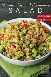 2 cups frozen, shelled, edamame 1 cup frozen corn 1 cup cooked, cooled quinoa (leftover is great) 1 green onion, sliced (just green parts) ½ red sweet bell pepper, diced 2 Tbsp minced fresh cilantro 1½ Tbsp olive oil 1 Tbsp freshly squeezed lemon juice 1 Tbsp freshly squeezed lime juice ¼ tsp salt ¼ tsp chili powder ¼ tsp dried thyme ⅛ tsp freshly ground black pepper dash of cayenne