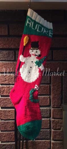pattern for vintage snowman stocking hard copy mailed to you