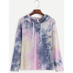 SheIn(sheinside) Tie Dye Drawstring Hooded T-shirt ($13) ❤ liked on Polyvore featuring tops, t-shirts, polyester t shirts, color block tee, color block t shirt, color block tops and stretch t shirt