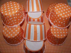 Treat Cups12 Orange/white stripe Cups Use For Ice by shabbygirl2, $3.40