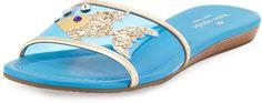 Kate Spade New York Tara Fish Flat Slide Sandal, Surf Blue #katespade #fish #goldfish #sandal #blue #gold