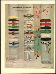 1948 Print Ad Belts by Garay Around Prettiest Waists   eBay