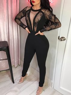Amazing Lace Crochet Mesh See Through Jumpsuit - CouponTron Sexy Outfits, Cute Outfits, Fashion Outfits, Woman Outfits, Fashion Shoes, Casual Outfits, Tight Dresses, Prom Dresses, Long Dresses