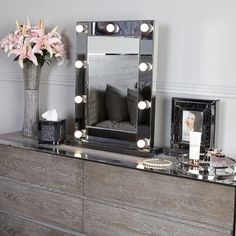 Smoked Glass Dressing Table Mirror With 9 Dimmable LED Light Bulbs Mirror Panels, Mirror Wall Art, Living Room On A Budget, New Living Room, 7 Drawer Dressing Table, Dimmable Led Lights, Beveled Mirror, Soft Furnishings, Bedroom Decor