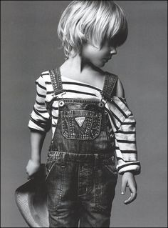 Coveralls and a striped shirt - too darned cute.  Would go great with a red wagon prop