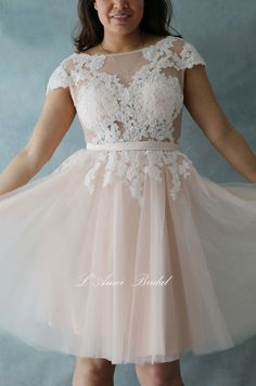 Rose Tea Short Knee Length Blush Lace Wedding Dress with by LAmei