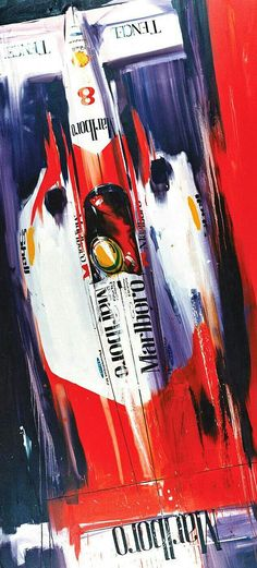 Ayrton Senna piloting his Mclaren-Ford MP4/8 during the 1993 F1 season in this artwork by Camilo Pardo. Senna won 5 races in '93, but finished second in the World Drivers' Championship to Alain Prost, who was driving for the Williams team.