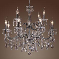 Moddern Crystal Chandelier with 12 Lights – USD $ 399.99