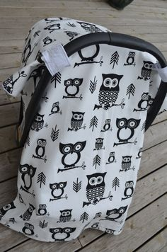 Modern Gender Neutral Owl Car Seat Cover by BabyAndBee on Etsy, $50.00