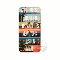 San Francisco San Diego Los Angeles New York Boston Miami Hard Plastic Case Cover For Apple iPhone 4 4S 5 5S SE 5C 6 6S 7 Plus