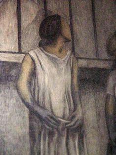 """Mural en la """"Escuela Primaria Miguel Serrano"""" (1930) ubicada cerca de la Plaza Santo Domingo. Fotografías del proceso de restauración por el Instituto Nacional de Bellas Artes (INBA), tomadas el 13 de octubre de 1999"""