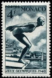 Monaco swimming postage stamp