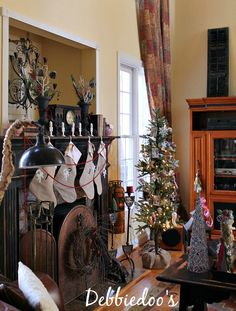 #Christmas Mantel with #burlap stockings, #rustic #whimsy