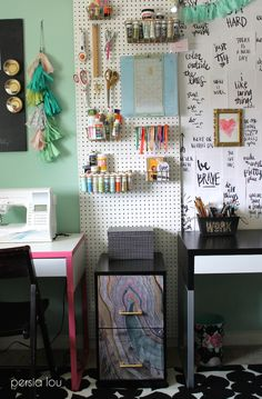 Love this organization pegboard wall in a craft room