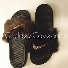 Faux fur with gold OR silver pearl Nike swoosh, sole options are black OR white, all other custom colors will cost more... Please be advised shipping may take up to 7 business days message me for details Visit my website: www.goddesscave.com Shoot me an email at GoddessCave@gmail.com Follow me on Instagram: @Goddess_Cave I do not provide refunds please keep in mind that the item is customized.