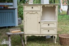 Dresser painted in Buttermilk by Old Fashioned Milk Paint Wall Colors, Paint Colors, Home Design Blogs, Milk Paint, Dresser, Vanity, House Design, Painting, Furniture