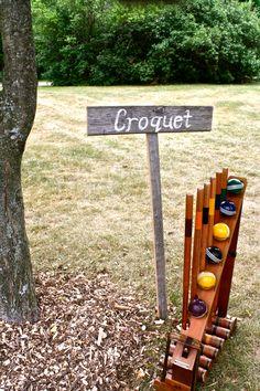 Reception fun, DIY re-claimed barn board signs #croquet #wedding #outdoor