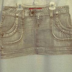 Guess gray washed color jean skirt Like new. Guess gray stretch washed color jean skirt Guess Skirts Mini