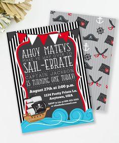 Pirate Birthday Invitation Nautical Invitation Boy by MKKMDesigns