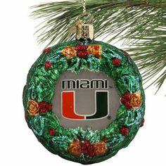 Miami Hurricanes Glass Wreath Ornament - $7.99