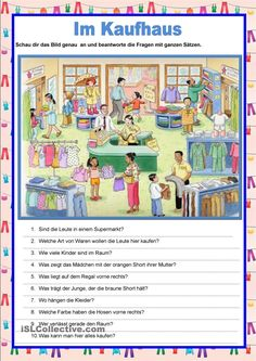 Image description - at the department store - English ESL Worksheets for distance learning and physical classrooms Picture Comprehension, Reading Comprehension Worksheets, Grammar And Vocabulary, Vocabulary Worksheets, Printable Worksheets, Free Printables, German Language Learning, Teaching English, Learn German