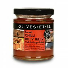 Spiky chilli relish with a powerful ginger and garlic kick for meat, noodles and dressings. - Olives Et Al  With chilli, ginger and garlic, Chilli Billy's a perfect accompaniment for all cheese, meat or fish, or add a big dollop to soups and stews. One of our favourite snacks is Chilli Billy Philly (deliphia) on toast. Rosie says that she couldn't live without it and we have to agree.