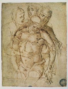 Pieta by Andrea Mantegna Italian Painters, Italian Artist, Italian Renaissance, Renaissance Art, Sculpture Romaine, Andrea Mantegna, La Pieta, European Paintings, Ink Pen Drawings