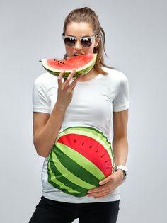 My Watermelon Bump Maternity T-Shirt - Mamagama Pregnancy tshirt - Mamagama Maternity Wear - Gift - Funny - Cute - Summer -Watermelon